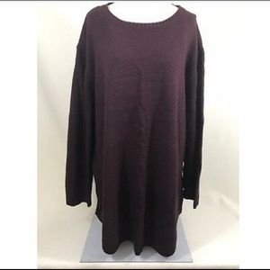 Burgundy/Black Plus Size Tunic Sweater